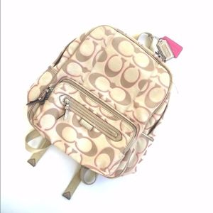 Coach jacquard print backpack pink/brown